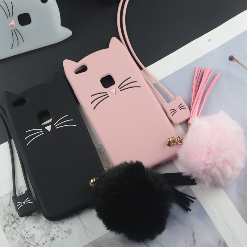 Cute 3D Cartoon Silicon Case For Huawei P10 Lite Cases Japan Glitter Beard Cat Lovely Ears Kitty Cover For P10 Plus P10 Selfie