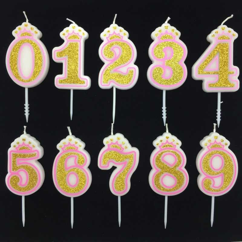 Glitter Ouro Rosa/Coroa Azul Feliz Aniversário Velas Número 0-9 para Crianças Adulto Meninas Meninos Festa De Aniversário velas Do Bolo de Decoração