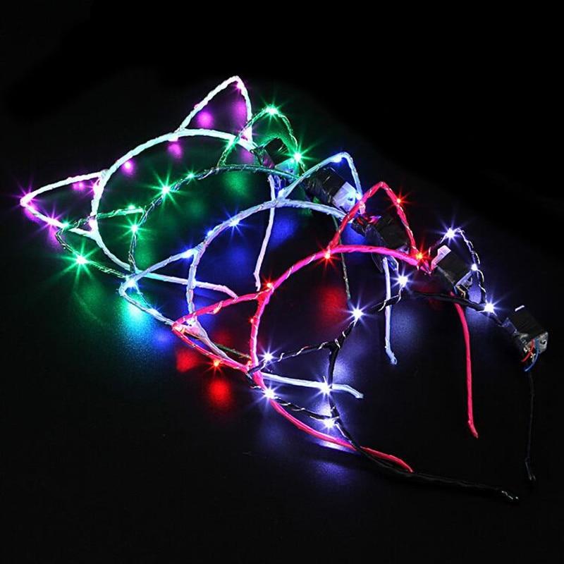 LED Flashing Cat Animal Ear Headband Women Girls Hairband Headwear Birthday Glow Party Hair Halloween Christmas