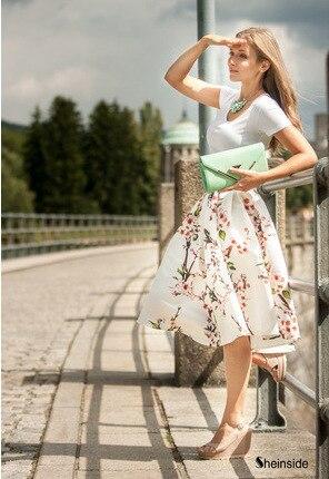 Estilo de verano Faldas de Las Mujeres Impresa Flor Sexy Vestido A-Line 2017 nueva Moda Falda de Midi Falda De la Mujer de La Venta Caliente Libre gratis