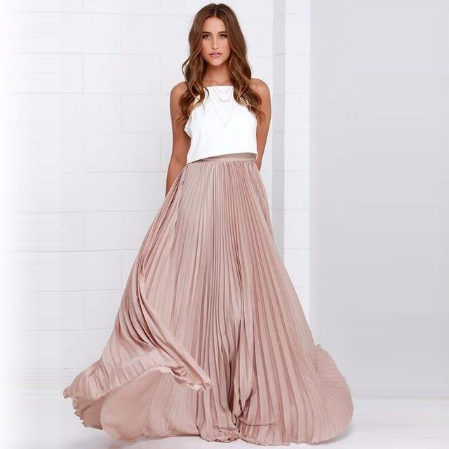 1263d9e38a2ae7 Chiffon Lange Rokken Mooie Roze Plisse Floor Lengte Maxi Rok Rits Stijl  Voor Mode Vrouwen Hoge