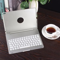 Portable Silver Wireless Bluetooth Keyboard Protective Case Smart Connection Led Backlit Aluminum Alloy For Ipad Pro