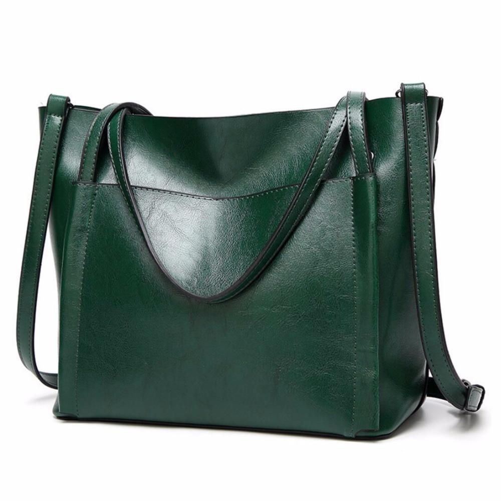 Moda de Couro de Cera de Óleo Feminina de Couro Nova Bolsa Macio Mensageiro Bolsas Preto Verde Casual Tote Feminino Crossbody