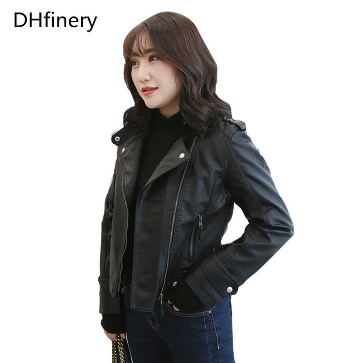 high quality autumn winter   leather   jacket women Bust 96-120CM black beige motorcycle PU   leather   jackets plus size XL-5XL N5428