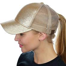 Brillo de cola de caballo de gorra de béisbol de las mujeres desordenado  bollo sombrero de a2ab99713da