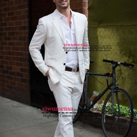 Y523 Latest Coat Pant Designs Ivory/White Casual Men Suit 2019 Summer Beach Tuxedo Custom Made 2 Piece Men Suits For Wedding