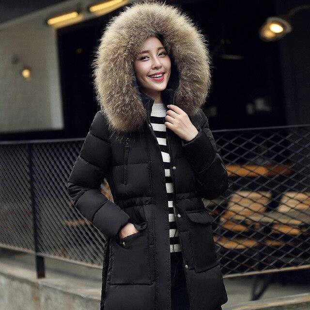 Chaqueta de invierno Mujeres 2016 Nueva Moda Longfur A950 HoodParkas Para Mujer Chaquetas de Invierno