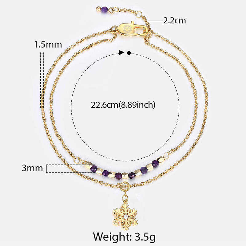 Double Layer Gold Snowflake Charm Anklets Stainless Steel Link Chain for Woman Jewelry Gifts Bead Anklet DA23