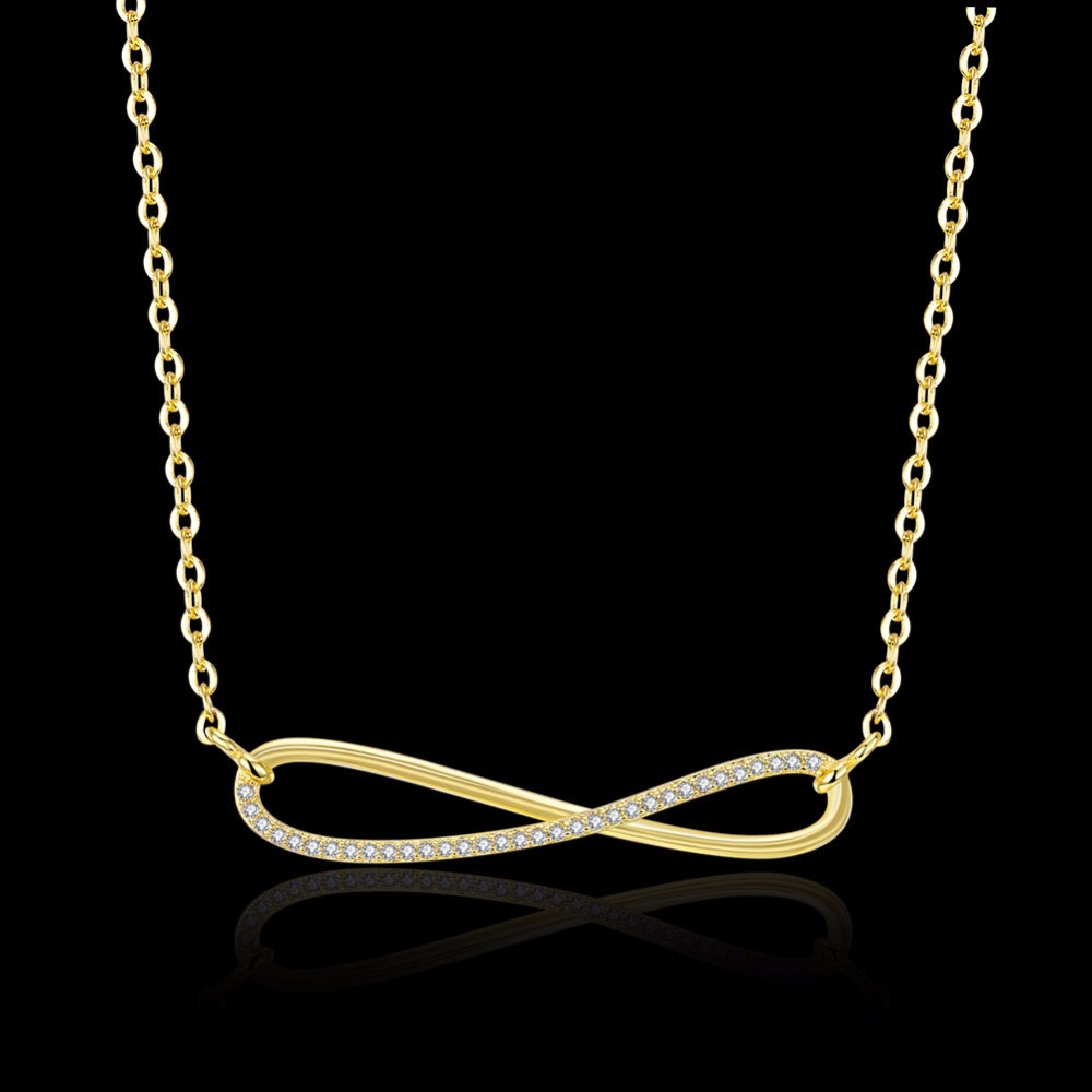 2017 Hot Infinity Eternity Necklace Fashion Solid Color GoldRose
