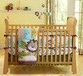 Promoção! 7 PCS 100% algodão bordado conjunto de cama berço infantil produtos, Incluem ( pára choques capa de edredão de cama saia )