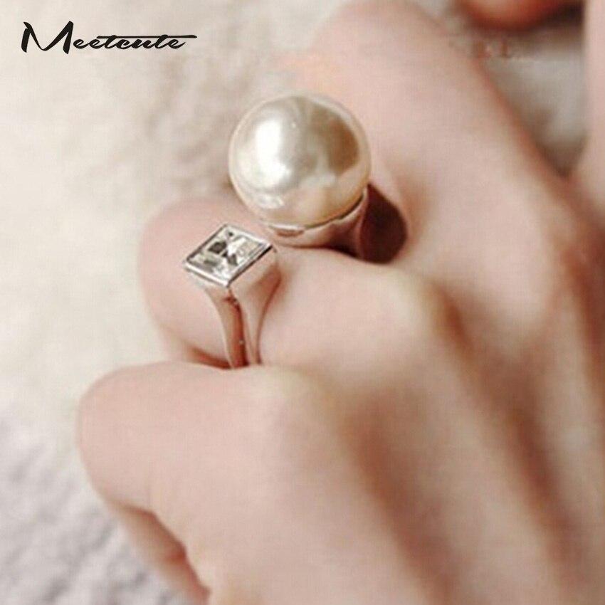 Meetcute New Coming White Round Дөңгелек Ұнтақты Білезік Әйелдер үшін Үлкен сақина Luxury adjustable Wedding Ring Әйелдер зергерлік бұйымдары
