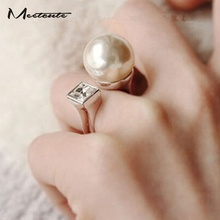 Meetcute New Coming White Round Simulated Pearl Beads Big Rings for Women Luxury adjustable Wedding Ring Female Jewelry
