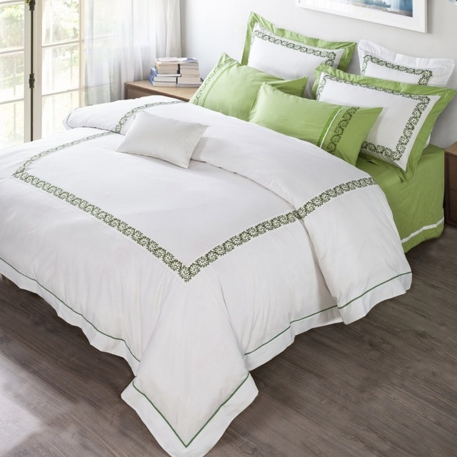 Cotton White Embroidery Hotel Style Bedding Set Duvet Cover Bed Linen Sheet Pillowcases Bedclothes King Queen Size 4 6pcs