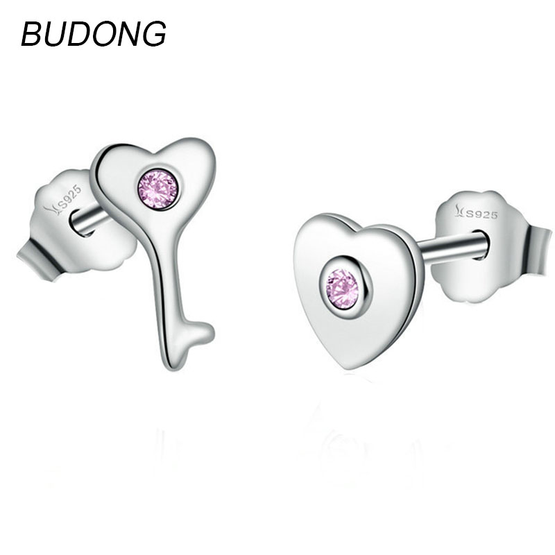 BUDONG Real 925 Sterling Silver Stud Earring for Women Fine Jewelry Key to your Heart Love Irregular Silver Party Earing Jewel