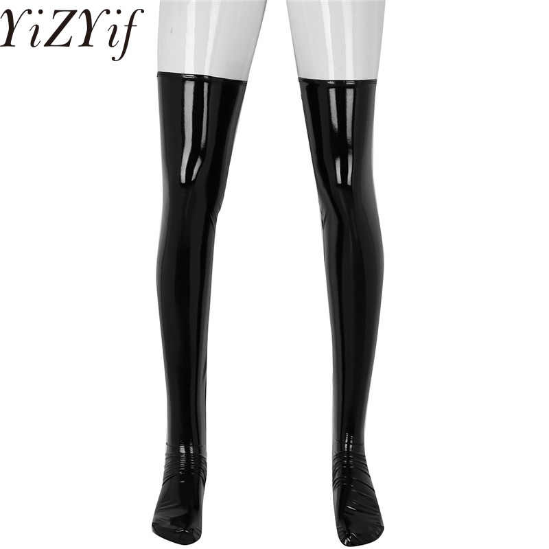 YiZYiF Man Wetlook Stockings Leather Sissy Anti-skid Soft Elasticity Knee High Socks Footed Stocking Clubwear Costume Cosplay