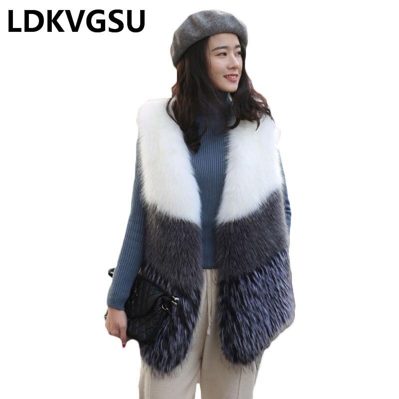 2018 Faux renard sans manches manteau femmes hiver élégant fourrure gilet décontracté Imitation vcou fourrure veste pardessus gilet femmes Is1157