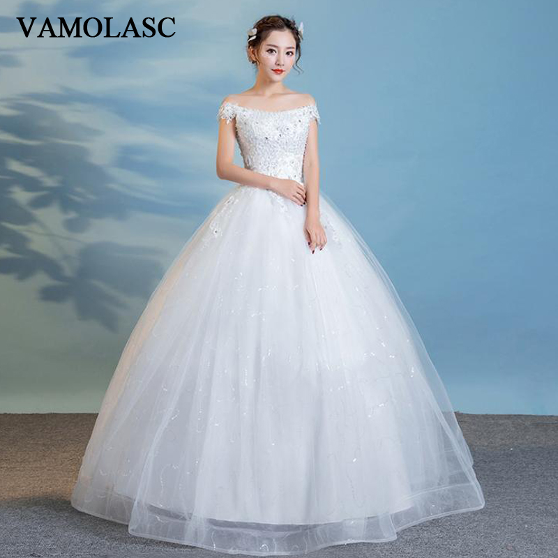 VAMOLASC Crystal Boat Neck Ball Gown Lace Flowers Appliques Wedding Dresses Off The Shoulder Backless Bridal Gowns