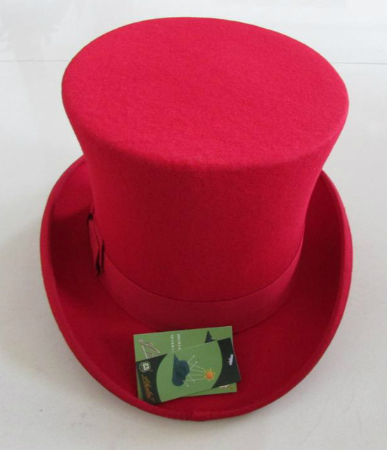 9855ac90 18CM High Black wool top hat for women and men Red White Dark gray new  traditional