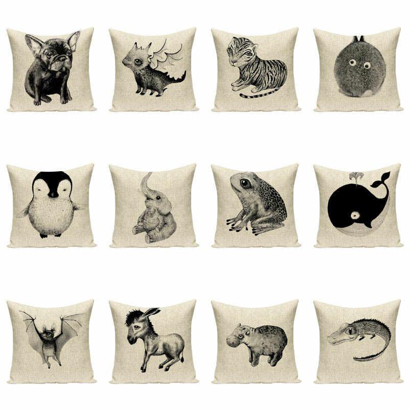 الضفدع الخفافيش البطريق الفيلة غطاء الوسادة طباعة لينة نحى الزخرفية غطاء الوسادة وسادة أريكة حالة ديكور المنزل