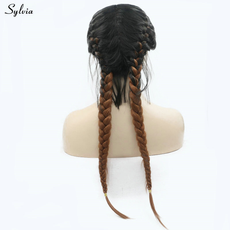 Sylvia Natural 2x Twist Braids Wig Black Ombre Brown Two Colors Long Synthetic Lace Front Wigs With Baby Hair Heat Resistant 24