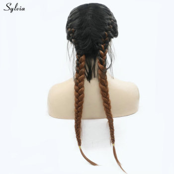 """Sylvia Natural 2x Twist Braids Wig Black Ombre Brown Two Colors Long Synthetic Lace Front Wigs with Baby Hair Heat Resistant 24"""""""