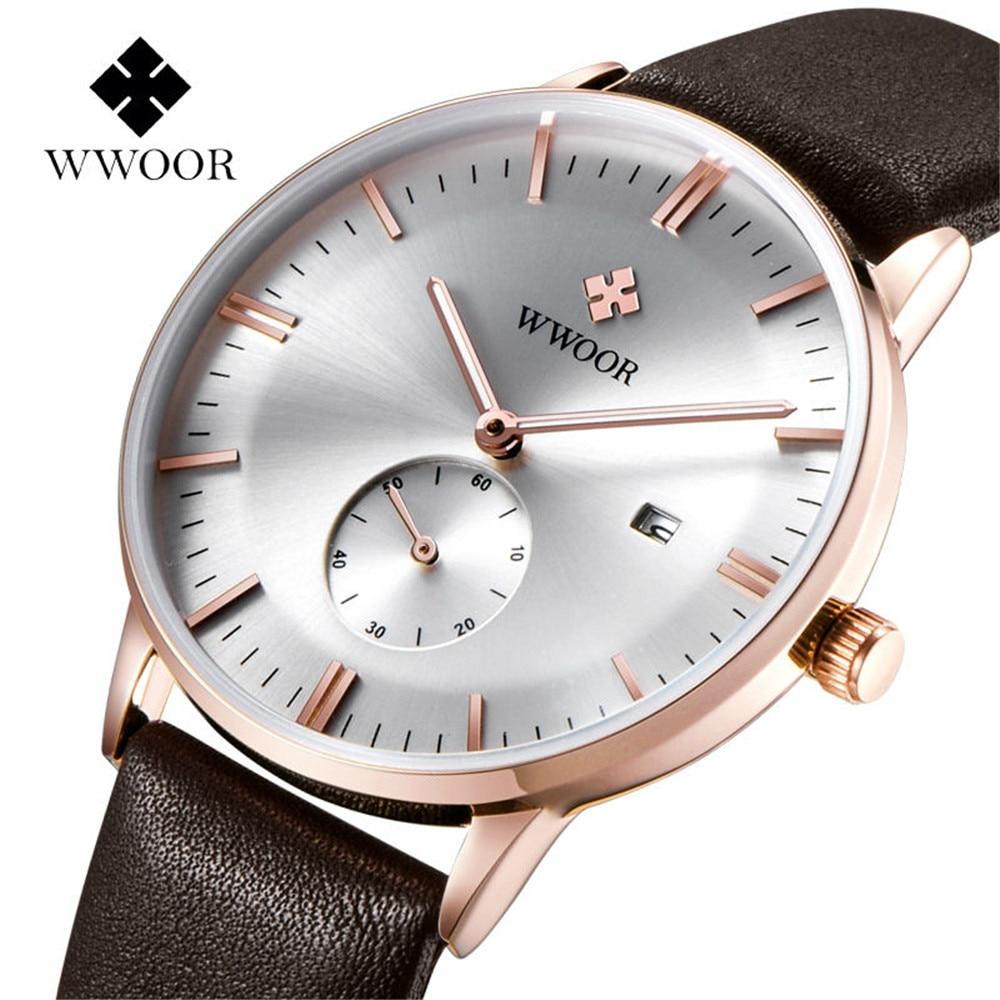 Prix pour 2017 WWOOR Hommes Montres Top Marque De Luxe Montre Hommes Bracelet En Cuir Casual Quartz Montre Sport Militaire Horloge Mâle Relogio Masculino