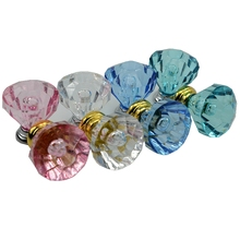 Wholesale10Pcs / Set  NEW 30MM Acrylic Crystal Door Drawer Cabinet Furniture Handle Knob Screw