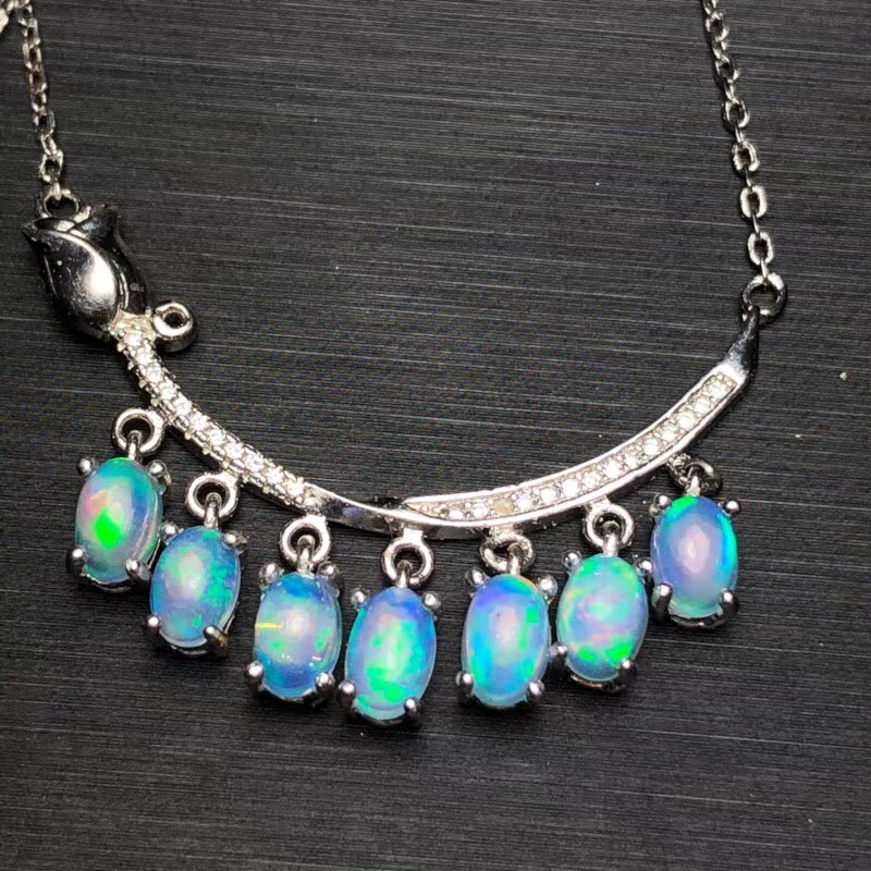 Natural Opal Necklace the latest design colorful affordable 925 silver
