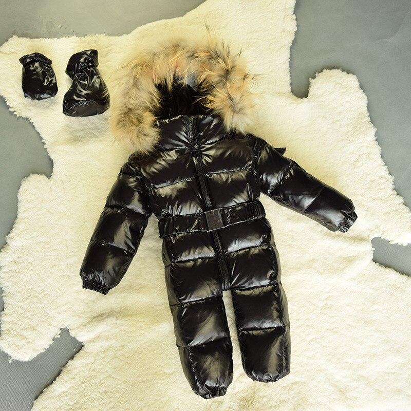 Настоящие Волосы для маленьких мальчиков зимние Комбинезоны для малышек утка Подпушка Комбинезоны для женщин детская одежда для мальчиков