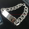23cm*15mm Jewelry Mens Bracelet Cuban Curb NK chains Silver Polished 316L Stainless Steel ID Bracelet for Bangle Male Accessory