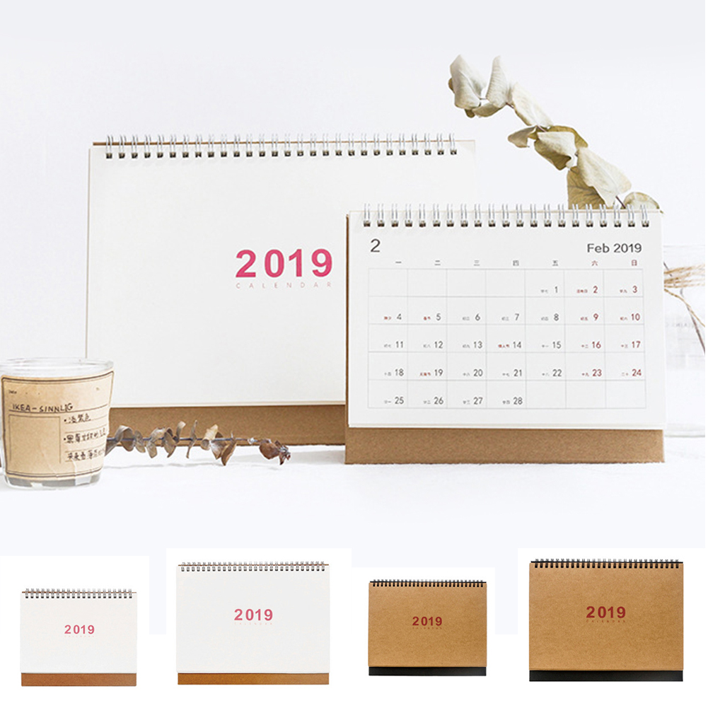 Calendar Dynamic Japanese Style 2019 Desktop Standing Coil Paper Calendar Memo Daily Schedule Table Planner Yearly Agenda Organizer Calendars, Planners & Cards