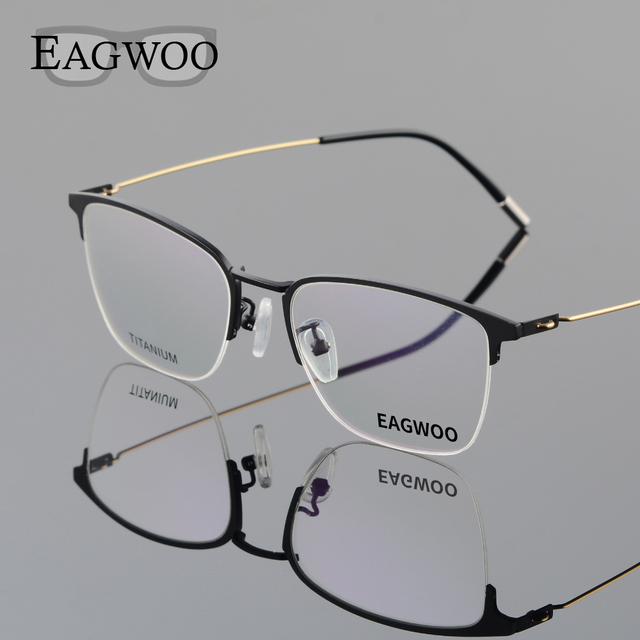 66217a898e Eagwoo Titanium Eyeglasses Half Rim Optical Frame Prescription Spectacle  Wire Temple Glasses Men New Slim Light