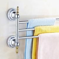 European Solid Silver Antique Towel Bar Bathroom Bar 3/4 Towel Rack Rotating Rod Porcelain Bathroom Accessories