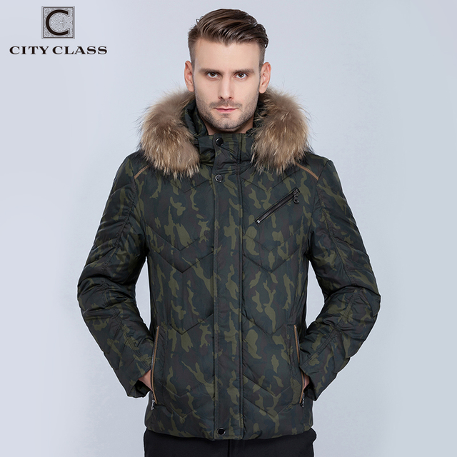 CITY CLASS New Mens Winter Jackets And Coats Fashion Casual Short Camouflage Stand Collar Removable Hat Winter warm parkar 14389