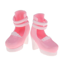 Lovely 12inch Doll High Heel Shoes Thick Heels Ankle Strape Belt Shoes for Blythe Fashion Girl Doll Party Accessory Pink(China)