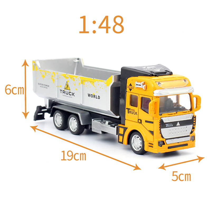 feichao Alloy Pull Back Engineer Truck Childrens Kids Educational Engineering Dump Truck Simulation Toys Car Gift 22*10*6.5cm