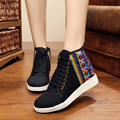 Canvas Flower Embroidered Women Skateboarding Shoes Lacing High-top Chinese Style Women Sneakers Size EUR 34-40
