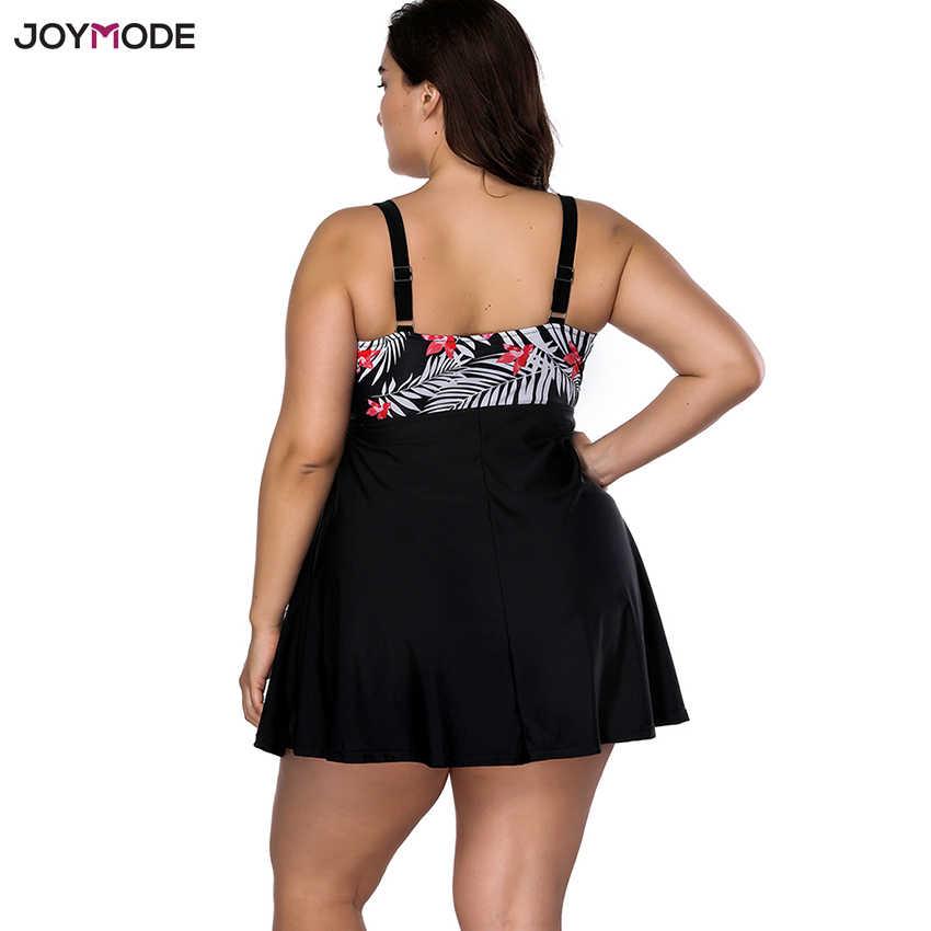 JOYMODE czarna spódnica tłuszczu stroje kąpielowe kobiety jednoczęściowy strój kąpielowy kostium kąpielowy typu push up strój kąpielowy stroje kąpielowe sukienka duży Plus rozmiar 3XL 4XL