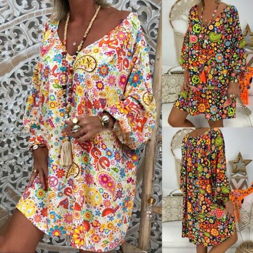 Women's Summer Dresses Vintage Floral Print Deep V Neck Dresses Damen Boho Hippie Blumen Strand Kaftan Freizeit Hemd