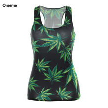 Onseme 3D Inexperienced Leaves Printing Tank Tops Sleeveless Girls Summer time Prime Journey Time Camisole Horny Chaleco Mujer Harajuku Colete