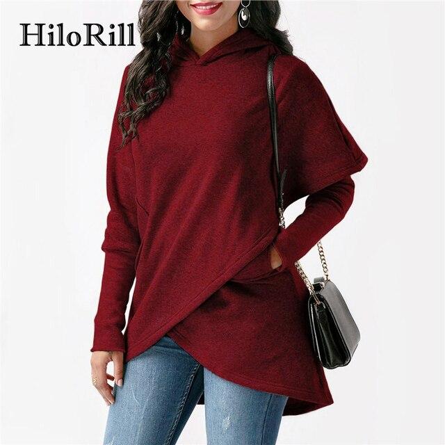 HiloRill Womens Hoodies 2018 Autumn Winter Asymmetric Long Sleeve Pullovers Hooded Sweatshirt Women Hoodie Jumper Sudadera Mujer