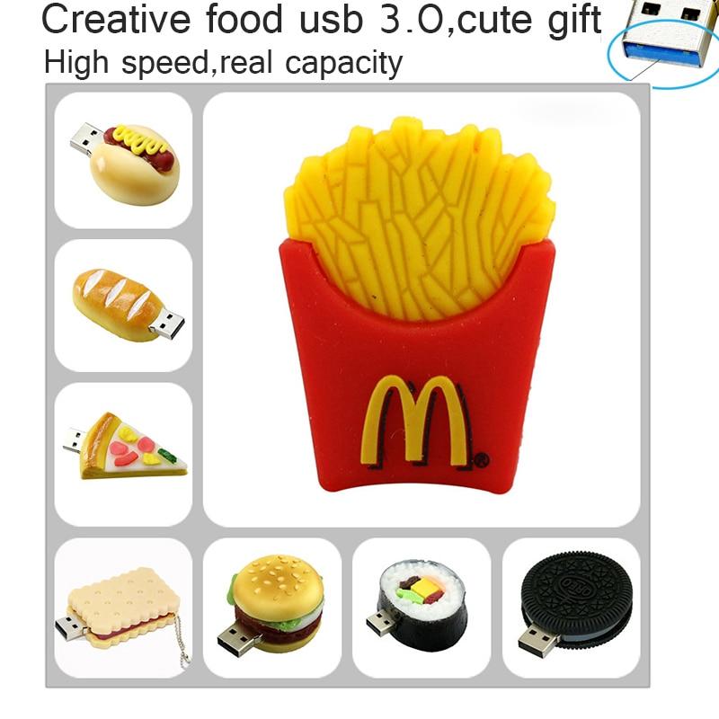 64GB USB 3.0 Pendrive, usb flash drive 8GB 16GB 32GB Full Capacity Cute French Fries,Pizza,Burgers USB 3.0 Flash Drive pendrive