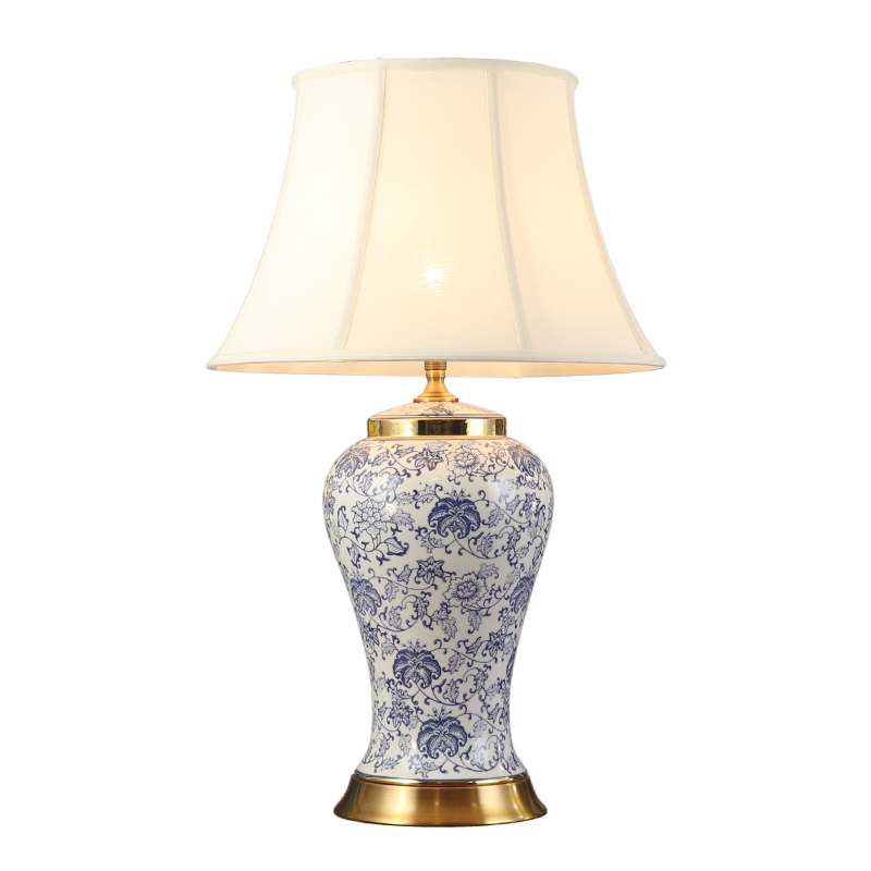 73cm High End Chinese Ceramic Copper Led Dimmer Table Lamp for Living Room Bedroom Study Porcelain Classical Table Light 1794