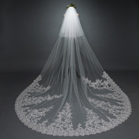 2019 3 Meter High Quality 2 Tiers Blusher Cover Face Cathedral Shining Sequined Lace Wedding Veil with Comb Luxury Bridal Veil