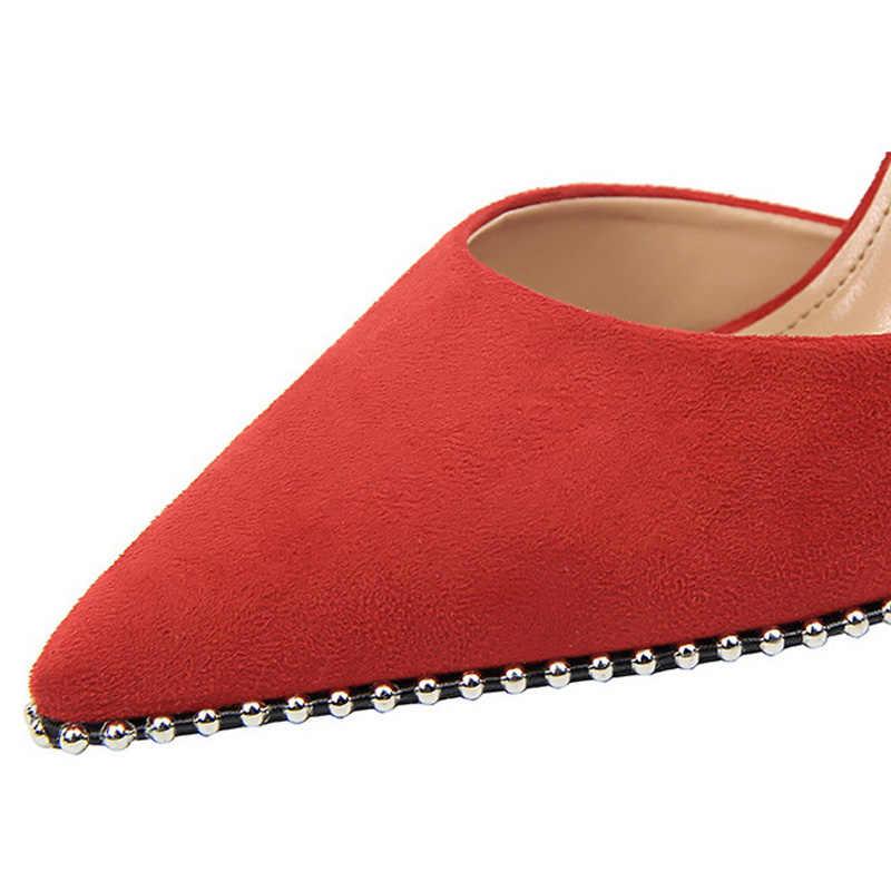 BIGTREE נשים משאבות אביב חדש נשים עקבים גבוהים זמש נשים נעליים עקב גבוהה נשים של סנדלי גביש נעלי חתונה אדום שחור