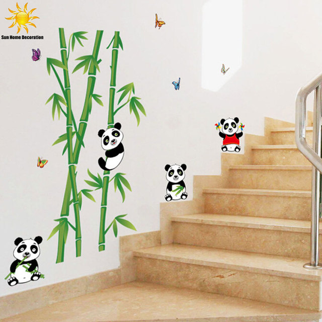 Cute Cartoon Panda Bamboo Wall Sticker For Kids Rooms Bathroom Home Decor  Bedroom Living Room Wall