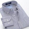 2016 новое прибытие Лето высокая qulatiy мужская мода ожирением с длинными рукавами полосатый плед тонкий рубашка плюс размер 6XL 7XL 8XL 9XL 10XL