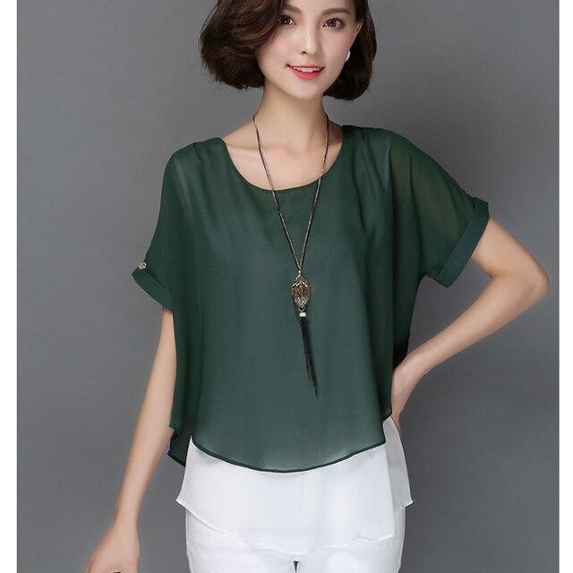 2b34e3f484 Chemise Femme 2018 Rosa mujeres blusas XXXL más tamaño Blusa de gasa blanco  camisa mujeres tops