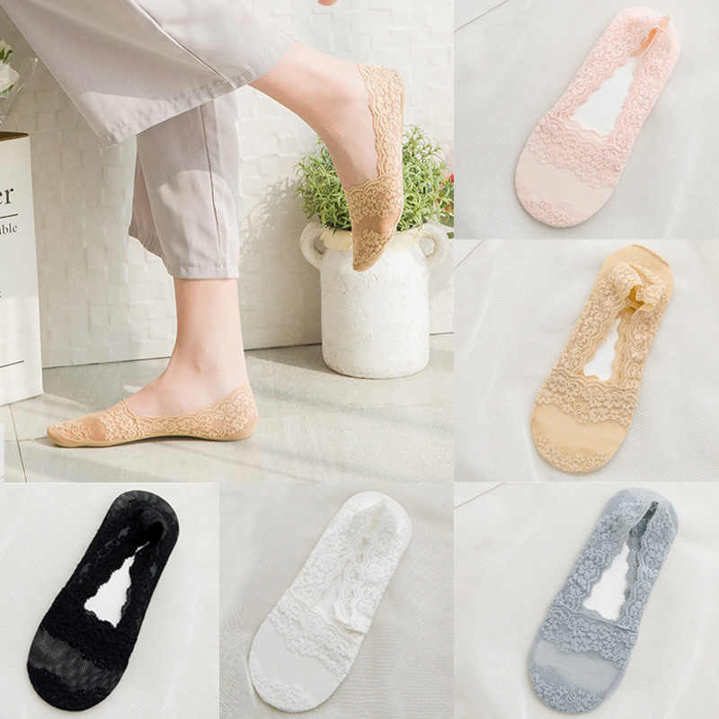 New Transparent Short Lace Socks Women Summer Hollow Out Boat Socks Slippers Female Soft Low Invisible Socks