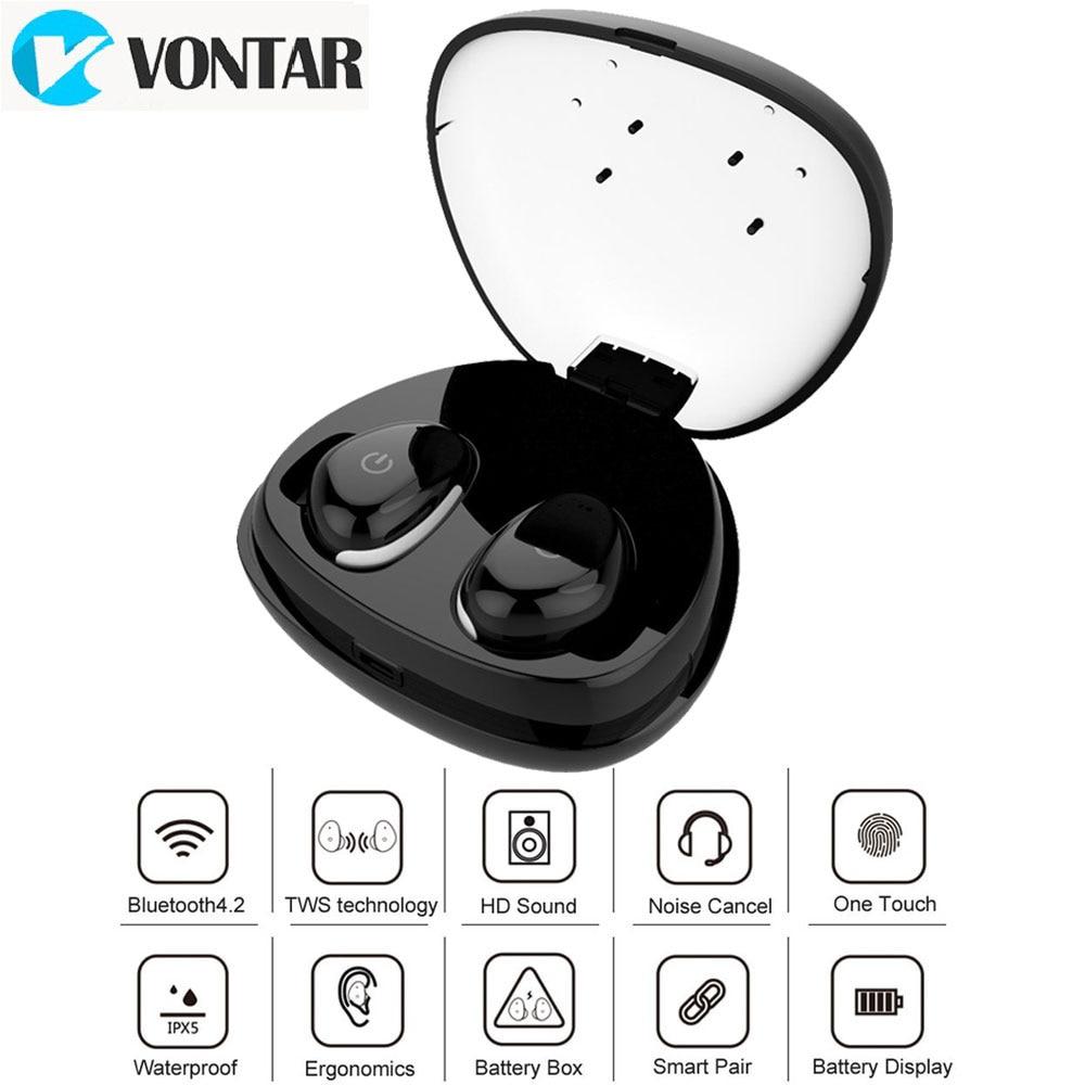 VONTAR I8S sans filaire écouteurs bluetooth étanche 4.2 bluetooth écouteur Avec Boîte De Recharge Bruit Annuler Mains Libres pour le sport